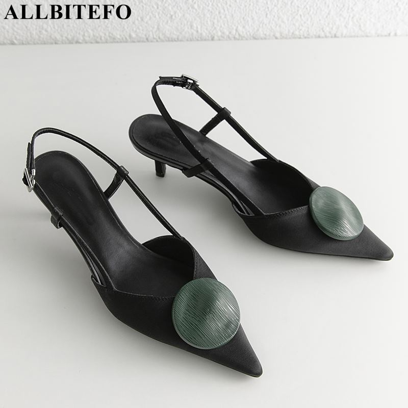 ALLBITEFO large size 33 42 silk pointed toe high heels women sandals high quality women high