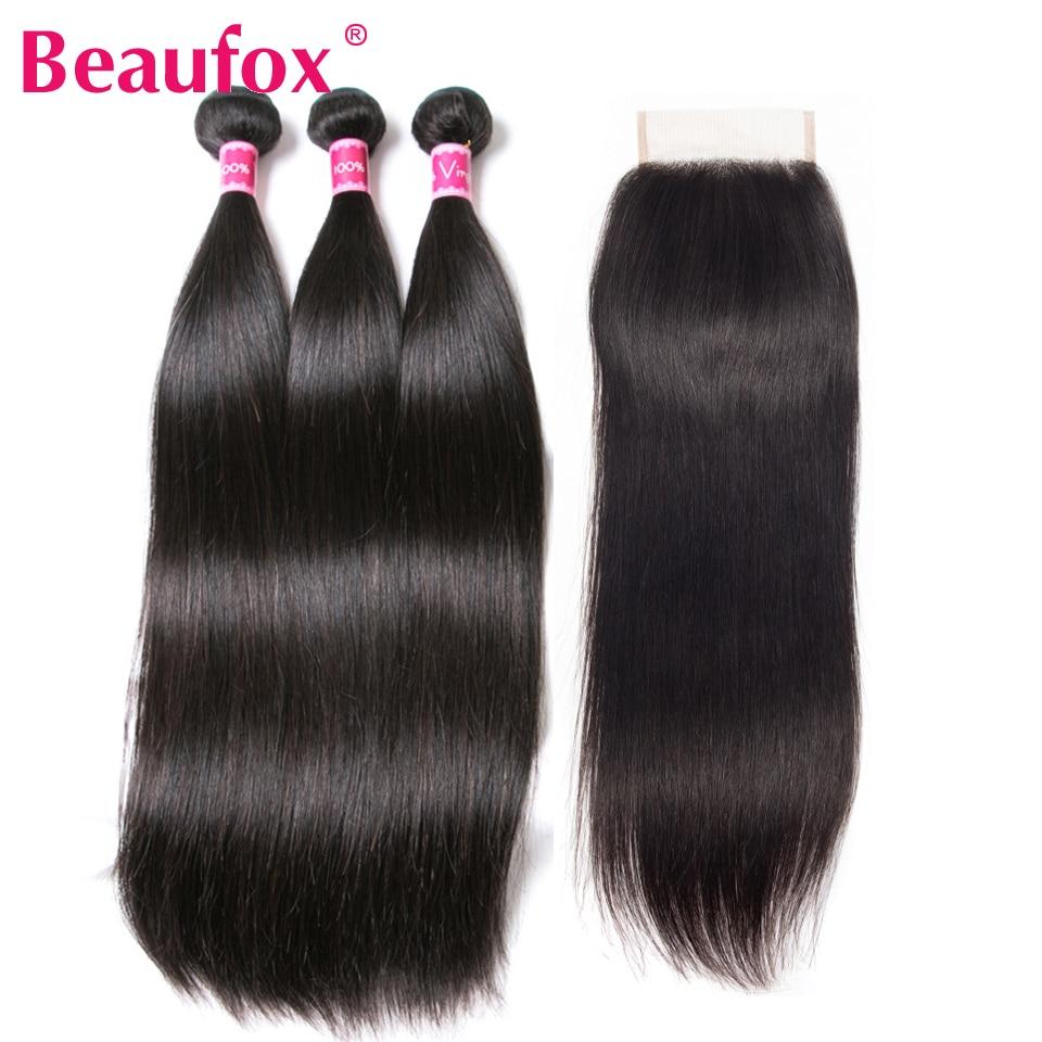 Beaufox Peruvian Straight Hair 3 Bundles With Closure 100% Human Hair Bundles With Closure 4Pcs/Lot Non Remy Hair Weave 1B