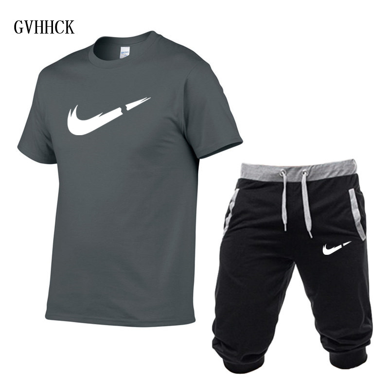 HTB1HL1mPsbpK1RjSZFyq6x qFXaW Summer New Tracksuit Men Shorts Casual Men's Sportswear Suit Shorts Brand Clothing Two Pieces Top Tee+Shorts Sweat Suits 2019