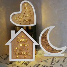 Hot Sale White Wooden House/Moon/Heart/Led Night Light Led Moon Night Light Home Decoration for Bedroom Dropshiping аксессуары для колясок moon фонарик led light