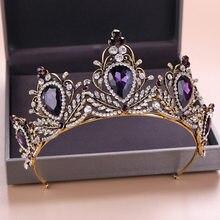 Tiaras DE BODA barrocas Vintage doradas y Cristal púrpura, diademas nupciales con diamantes de imitación, diadema de corona, accesorios para el cabello de boda