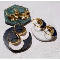 2019 Fashion Big Dangle Earrings Geometric Gold 585 Huge Statement Tassel Earring Luxury Brand Jewelry For Women Party Wedding