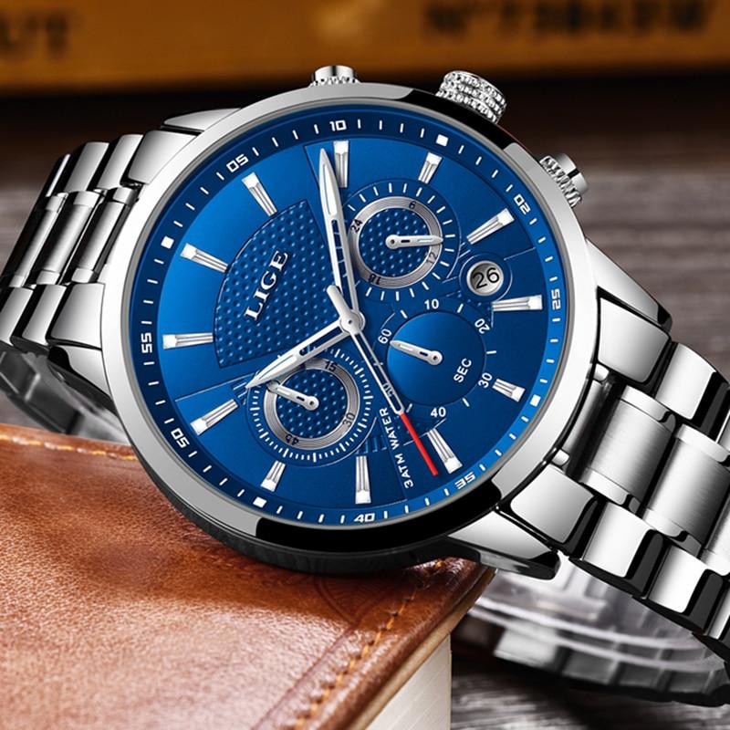 LIGE Mens Watches Top Brand Luxury Fashion Business Quartz Watch Men Sport Full Steel Waterproof Black Clock relogio masculino