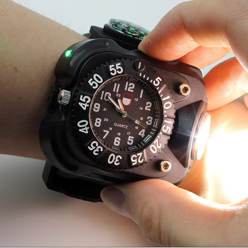 3in1 super lumineux led montre lampe de poche lampe de poche lumières Compass Sports de plein air Mens mode imperméable Rechargeable Wrist Watch Lamp
