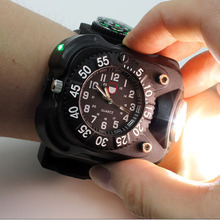 3 In 1 High Bright Watch Flashlight Torch With Compass Outdoor Sports Mens Fashion Waterproof Led Rechargeable Wrist Watch Lamp portable xpe led 1000lm display rechargeable wrist watch flashlight torch waterproof