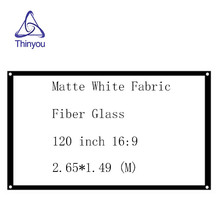 Thinyou 120 inch 16:9 projector screen Matte White Fabric Fiber Glass Simple curtain for Wall Mounted Home Theater Bar Travel