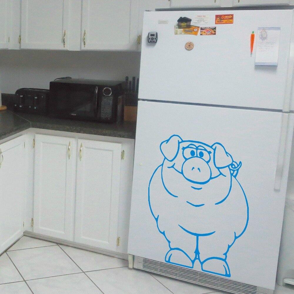 PIG FRIDGE PIG Vinyl Decal Art Animal Wall Sticker Home Decor ...