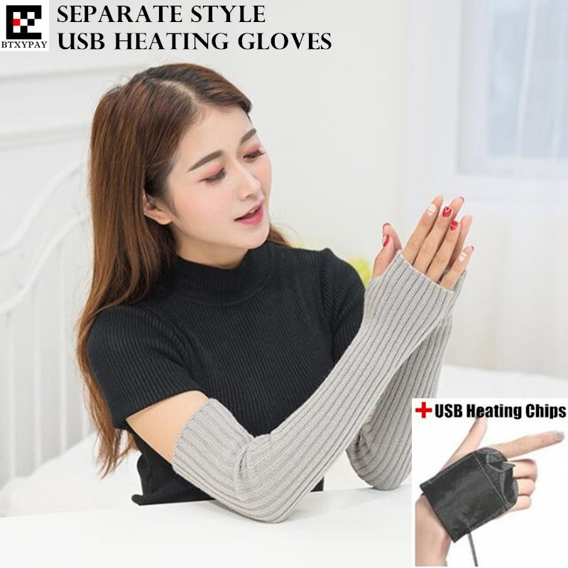 200p Winter Warm Women&Girl's Separate Style USB Heating Gloves,Fashion Hand Back Heated Knitted Striped Fingerless Long Gloves