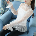 Ver A Través de Malla de Lunares Blusa Mujer Primavera Verano 2017 tapas túnica larga camisa manga flare mujeres chemise negro blanco Femme