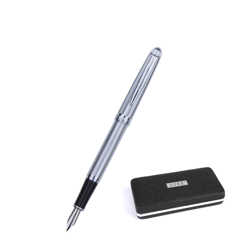 Duke 318 Silver Fountain Pen High Quality 0.5mm Iraurita Nib Business Gift Pens Office&school Practise Calligraphy Writing Pen segal business writing using word processing ibm wordstar edition pr only