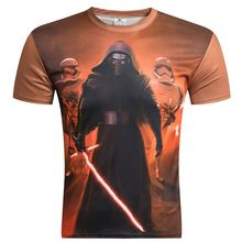 Anime 2016 New Camisetas Hombre Novelty Star Wars Men T-Shirts Tshirts 3D Print Tops O-Neck Short Sleeve Male Funny Tees M- 4 xl