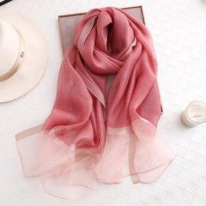 Image 5 - Fular de seda de color liso para mujer, chal musulmán de gasa, para playa, 2020