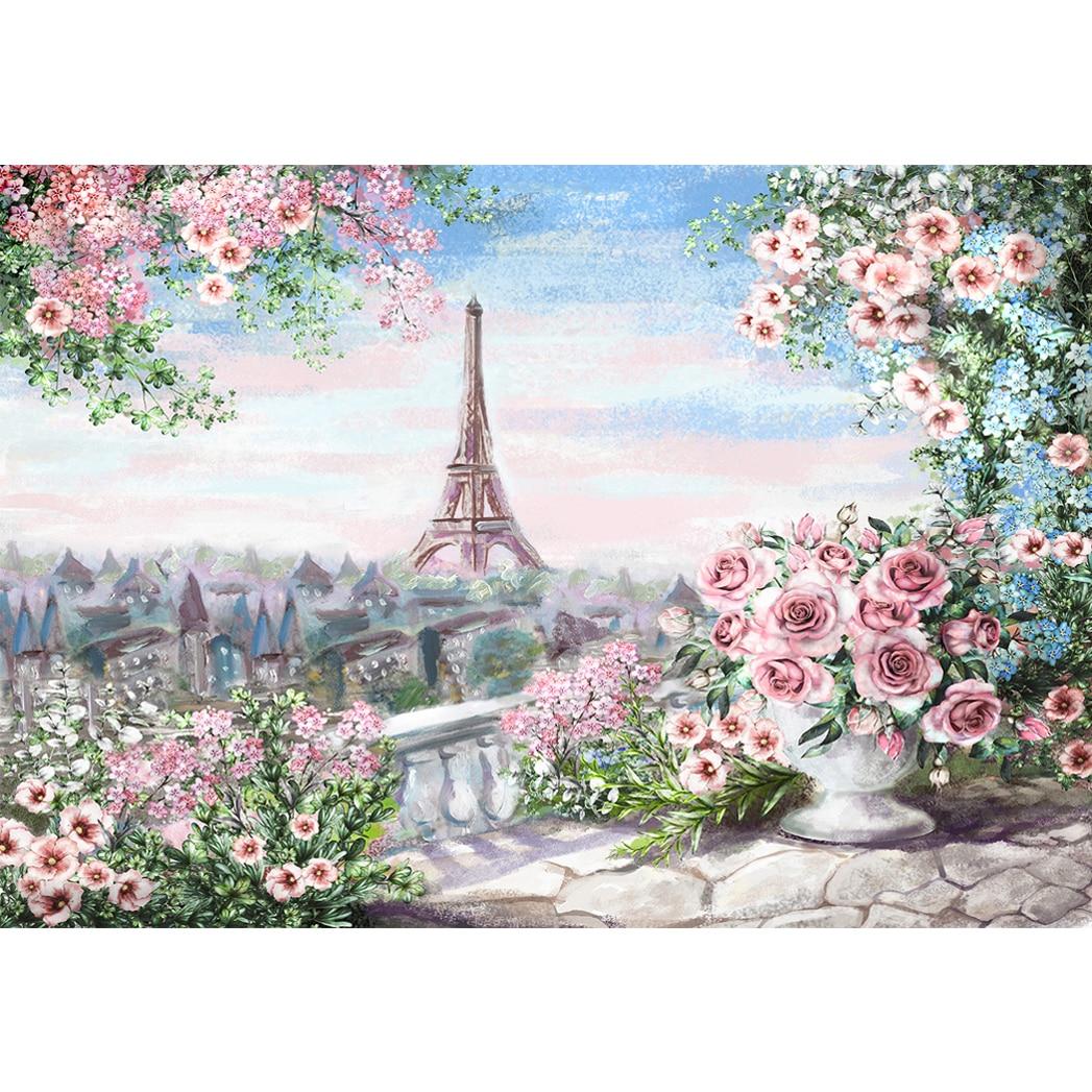 Allenjoy photography backdrop Spring colorful Paris Eiffel Tower ...