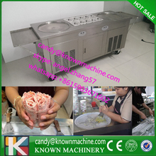 Free ship stainless steel 110V 220V Refrigerant R410a freezer double pan fry ice cream machine