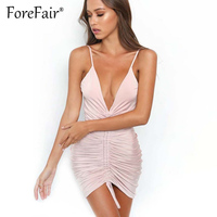 Forefair 2018 Sexy Ruched Pleated Strap Dress For Women Night Clubwear V Neck Bodycon Dresses Pink