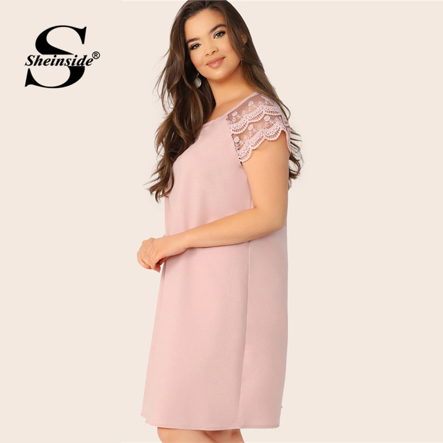 Sheinside Plus Size Casual Layered Contrast Lace Sleeve Dress Women 2019 Summer Pink Straight Dresses Ladies Solid Mini Dress 3