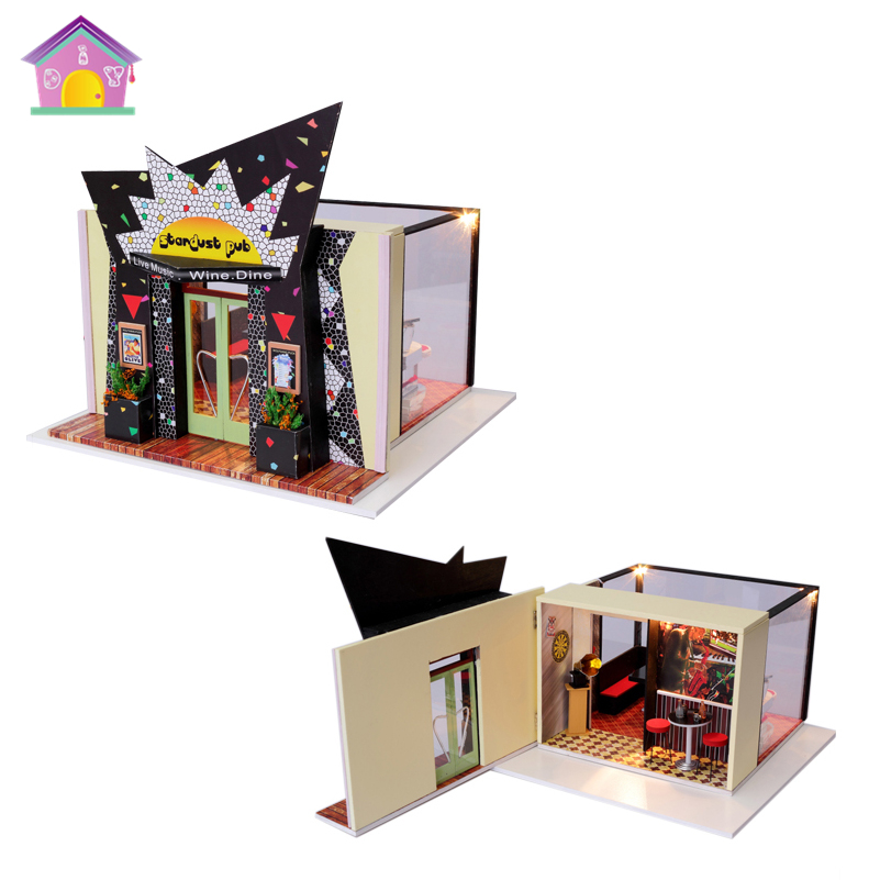 Stardust Pub House Mini Bar Miniature Dollhouse Furnitures,Birthday Gift DIY Wood Handmade Music Doll House Assembling Toy free shipping assembling diy miniature model kit wooden doll house house toy with furnitures