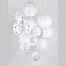 White Wedding Party Decoration Set Paper Fans Lanterns Honeycomb Balls Tissue Pom Poms Baby Shower Bridal