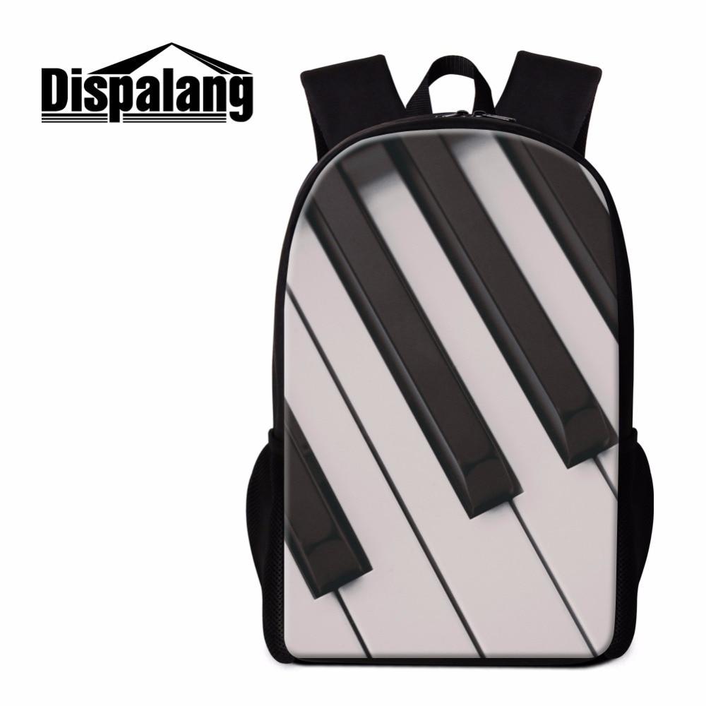 Dispalang Piano 3D Print School Backpack Musical Notes Bookbags for Children Trendy Bagpack Girls Rucksacks Teens Art Mochilas adam perlmutter piano for dummies