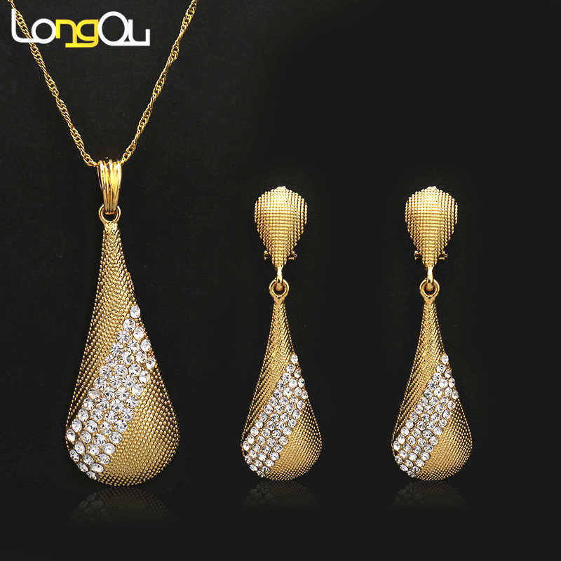 High quality Pendant Necklaces Earrings sets for Women Teenage Girls Gold Color Large drop crystal Jewelry Party Gift Decoration