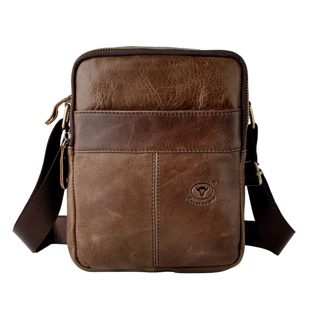 New Fashion Real Leather Male Casual messenger bag Satchel cowhide 8 Pad Cross-body Shoulder bag For Men 335