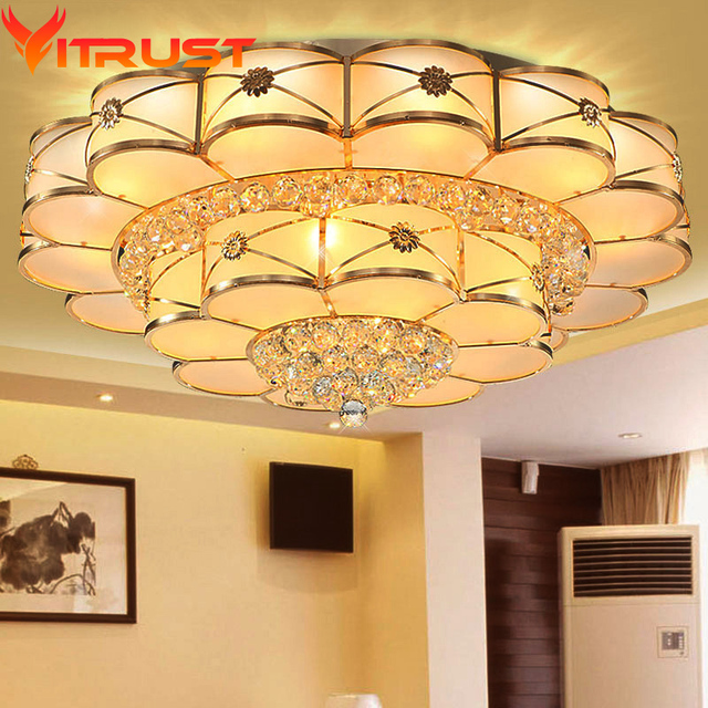 Gold Crystal Chandelier Modern Living Room Ceiling Light Led Flush Mount