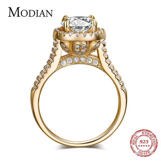 2018 new fasion jewelry real 925 sterling silver ring Gold Color Classic engagem
