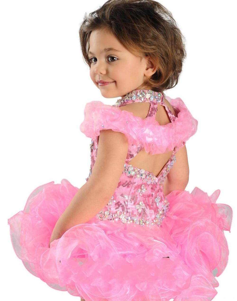 Супер очаровательное бальное платье с лямкой на шее, торжественное платье с кристаллами, украшенное бусинами, ручной работы, с рюшами из органзы, нарядное платье для девочек - Цвет: Розовый
