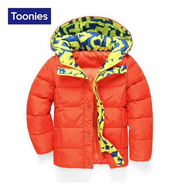 New Children's White Duck Down Jacket Boys Print Hooded Zipper Fashion All-match Warm Thicken Winter Outwear Coats 3 Color 3-9 Y