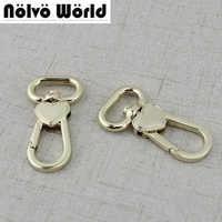 30pcs High quality 21mm Heart purse adjusted strap rigger snap hook clasp metal clip swivel dog leash hardware diy