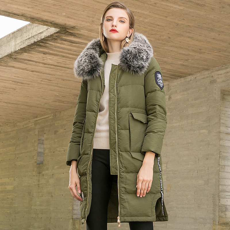 Big fur collar hooded slim straight long white duck   down     coats   2018 new women winter thick   down     coats