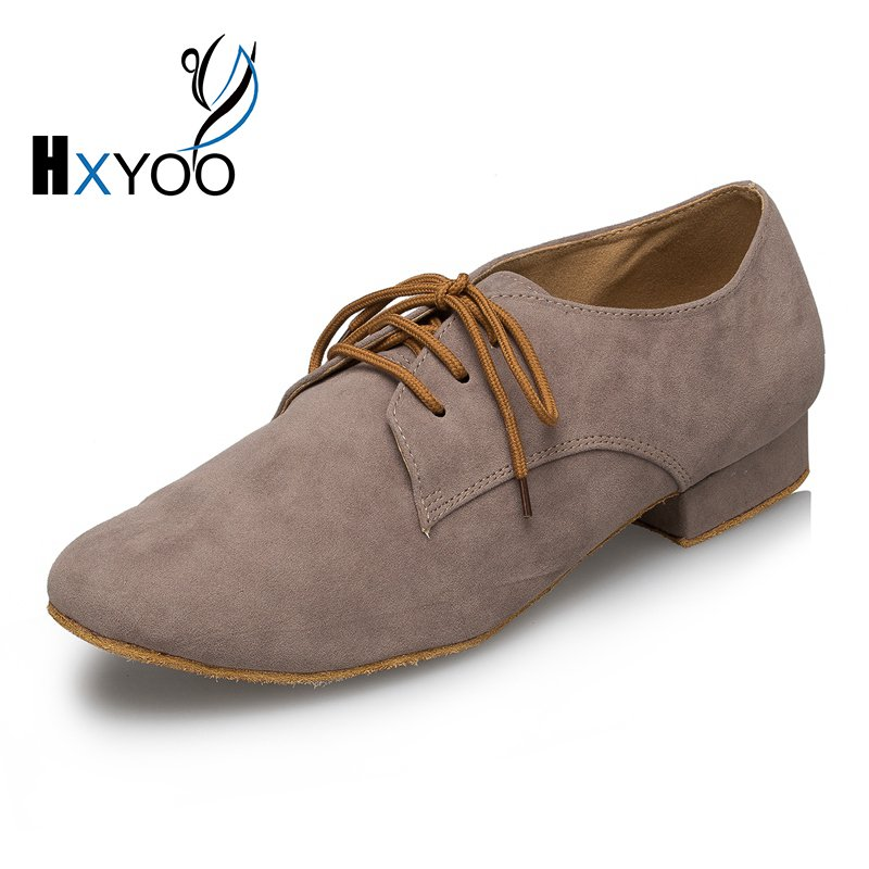 HXYOO 2017 New Model Genuine Learther Men Latin font b Dance b font Shoes Ballroom Shoes