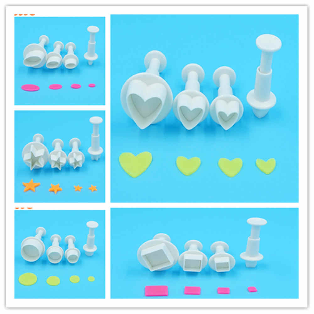 LUC 4PC /Lot Heart Stars Round Plunger Cookie Cutter Cake Decorating Molds Plastic Fondant Cake Cutter Sugar Craft Baking Tools