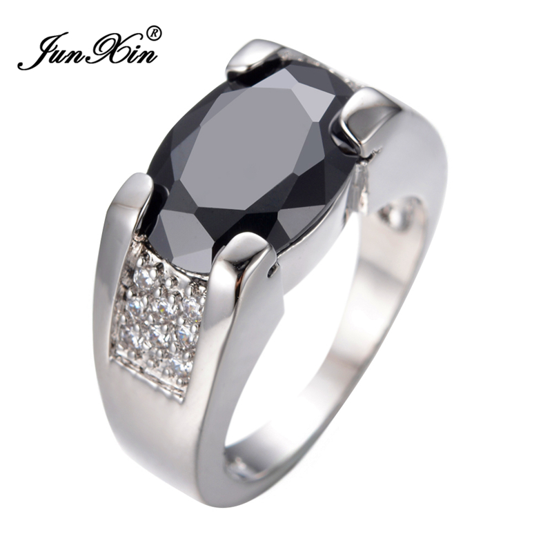 JUNXIN New Big Black Oval Ring Male Ring White Gold Filled Vintage ...