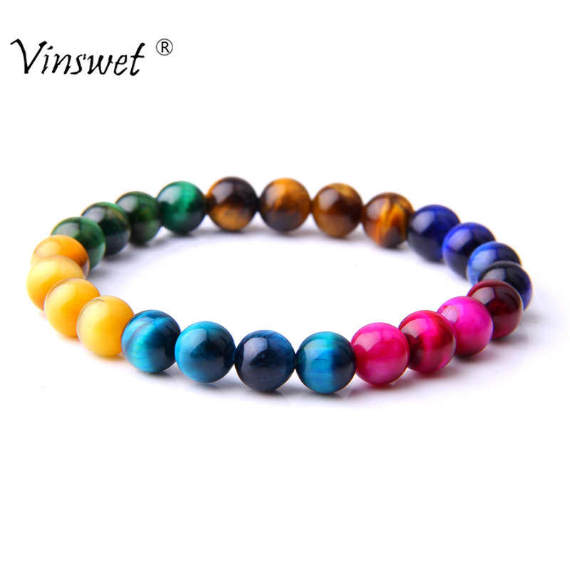 High Quality Multicolor Tiger Eye Beads Bracelets Natural Stone Round Beads Elasticity Bracelets for Women Men Jewelry