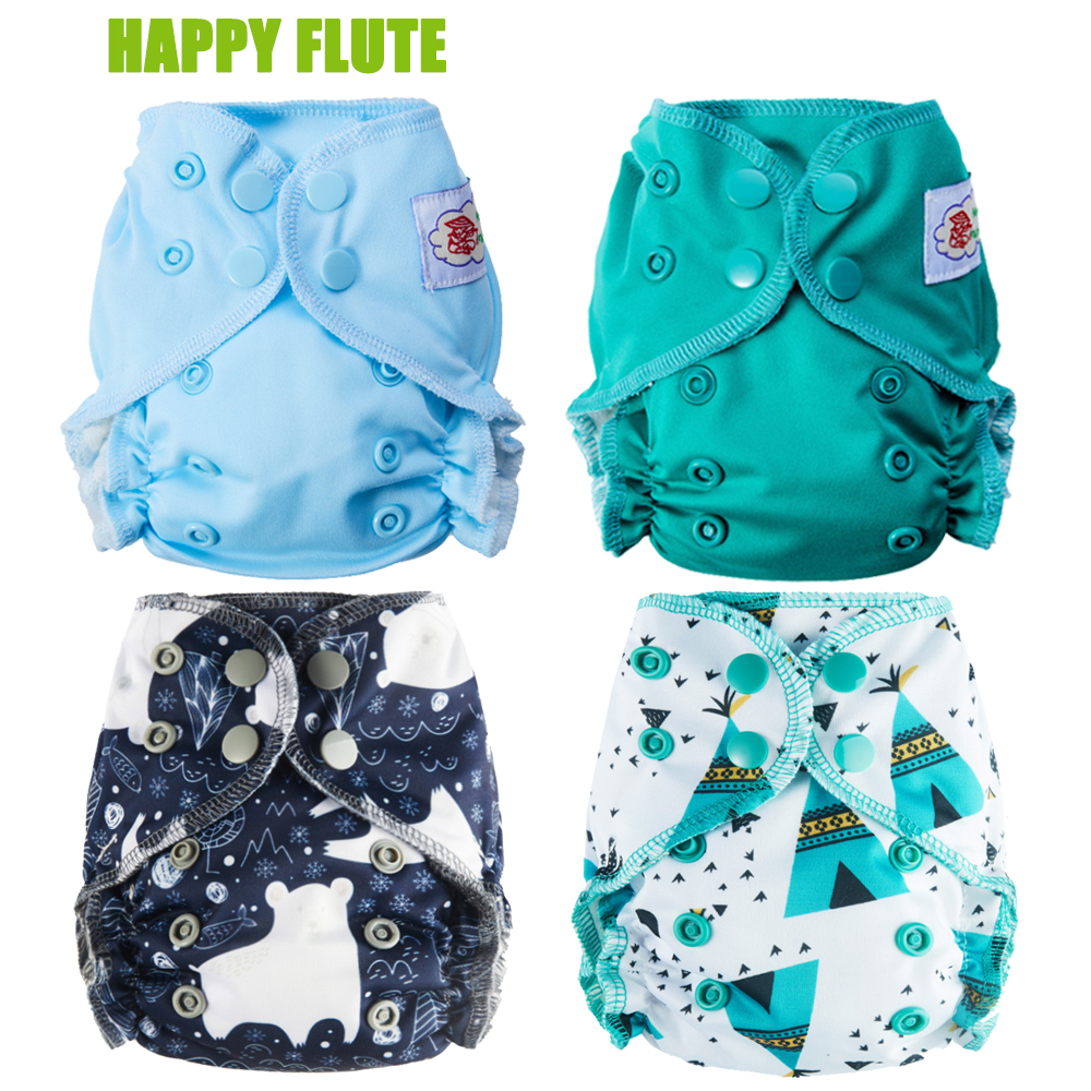 Happy Flute Organic Cotton Newborn Diapers Tiny AIO Cloth Diaper Double Gussets Waterproof PUL Fit 3-5KG Baby(China)
