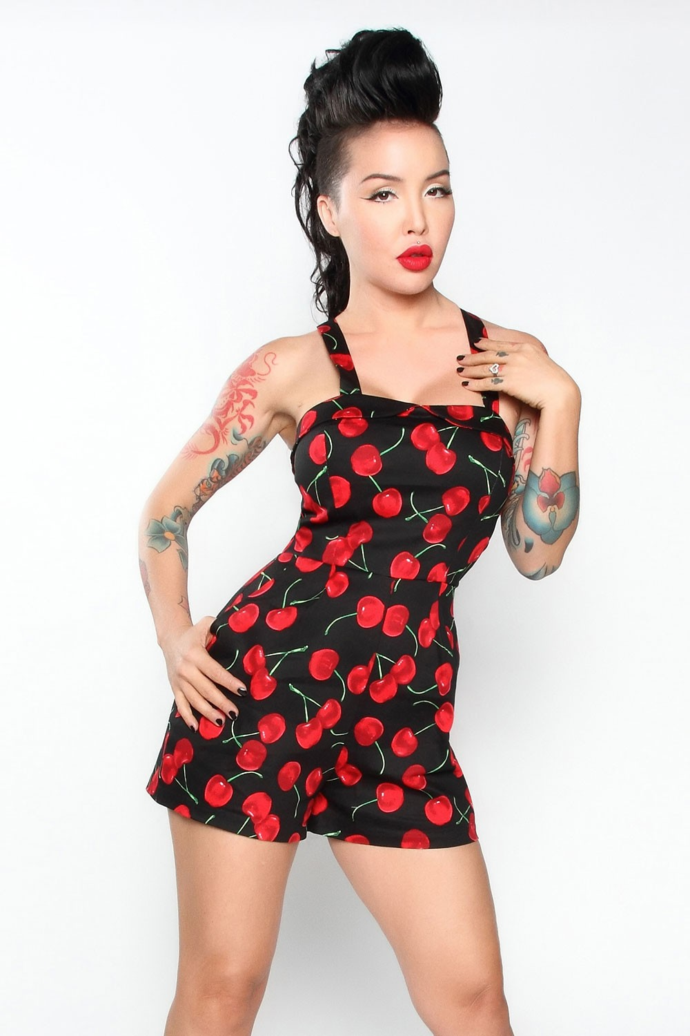 073b3a8789e Detail Feedback Questions about 30 summer women vintage 50s black cherry  print retro Yeeha Playsuit plus size 4xl romper jumpsuits rompers clothing  pinup ...