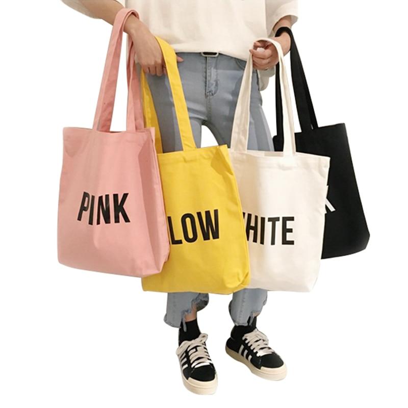 8PCS / LOT Women Shopping Bag Environmental Storage Bag Women Canvas Reusable Tote Pouch Casual  Folding Shoulder Handbags
