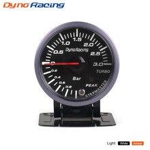 Dynoracing 2,5 дюймов 60 мм Автомобильный турбонаддув 3 бар белый и янтарный двойной светодиодный дисплей с Предупреждение Автомобильный манометр BX101477