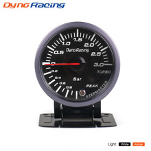 Dynoracing 2.5 Inch 60mm Car Turbo Boost Gauge 3 BAR White&Amber Dual Led Display With Peak Warning Car gauge Car meter BX101477
