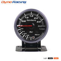Dynoracing 2.5 Pouces 60mm Voiture Turbo Boost Gauge 3 BAR Blanc & Ambre Double Led Affichage Avec Attention Peak voiture gauge Voiture compteur BX101477