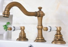 Antique Brass Widespread Bathroom Basin Faucet Dual Handle 3 Holes Basin Mixer Sink Taps Deck Mounted zan072 led light changing color waterfall basin faucet deck mounted mixer taps brushed nickel dual handle three holes