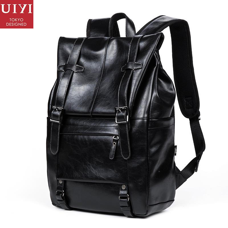 uiyi backpack men polyester microfiber pu leather patchwork backpacks for teenagers school rucksack school bags travel 160014 UIYI Fashion Women PU Leather Backpacks Men Casual Daypacks School Duffel Bag Rucksack For 14'' Laptop Bolsas Mochila 150157