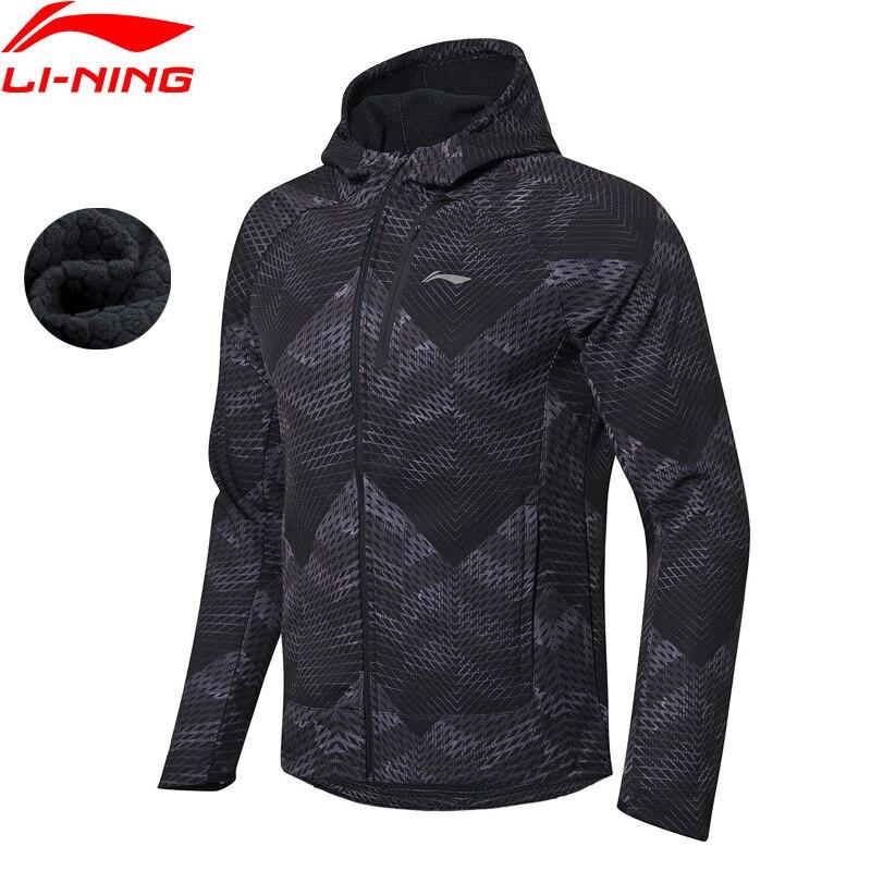 Li Ning Men Running Windbreaker Jacket Warm Fleece Trench Slim Fit Polyester Spandex LiNing Sports Hooded