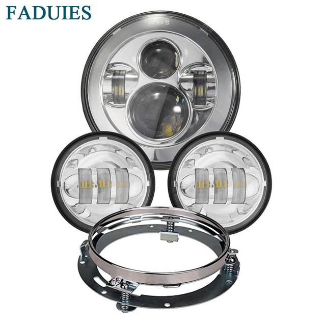 "FADUIES 7"" Motorcycle  LED Headlight H4 High/Low Beam +4.5"" Fog Lights +7'' Mounting Ring Bracket For Harley LED Headlamp"