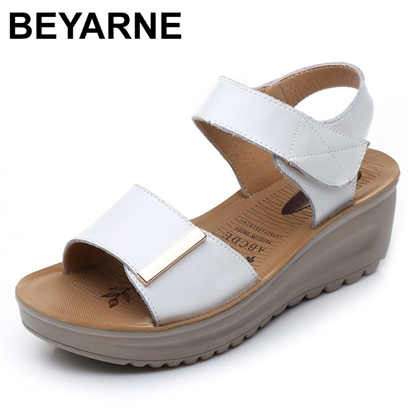 BEYARNE summer sandals female genuine leather women casual comfortable wedges shoes sandals women summer shoes lady sandals vietnam shoes leather sandals female sandals 2017 outdoor lovers casual summer sandals