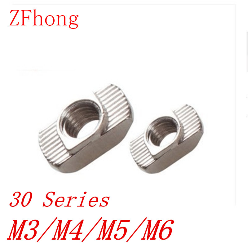100PCS 3030 Alumininum profile T NUT m3 m4 m5 m6 m8 Nut Hammer Nut Aluminum Connector T Fastener Nut Nickel Plated Carbon Steel