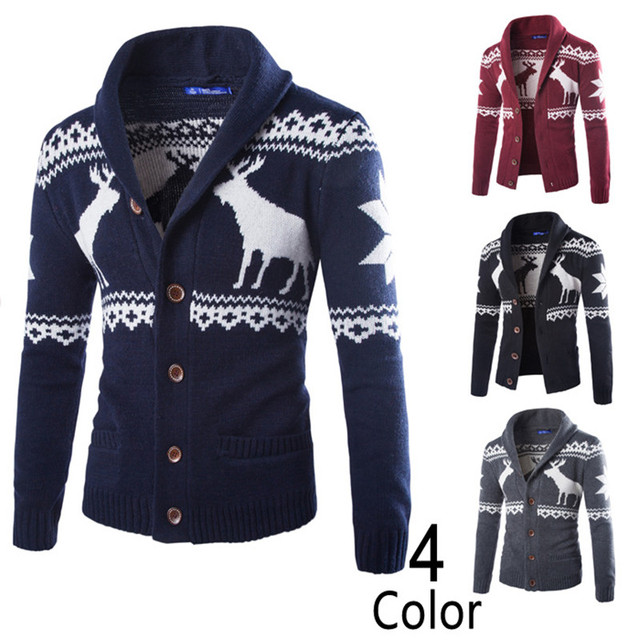 2017 Autumn Mens V Neck Long Sleeves Knitted Sweater Cardigan Male