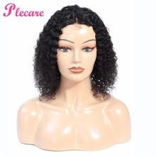 Plecare 4*1 вьющиеся человеческие волосы парик кружева Закрытие человеческих волос парики для черных женщин 8-14 дюймов бразильские не Реми волосы естественного цвета