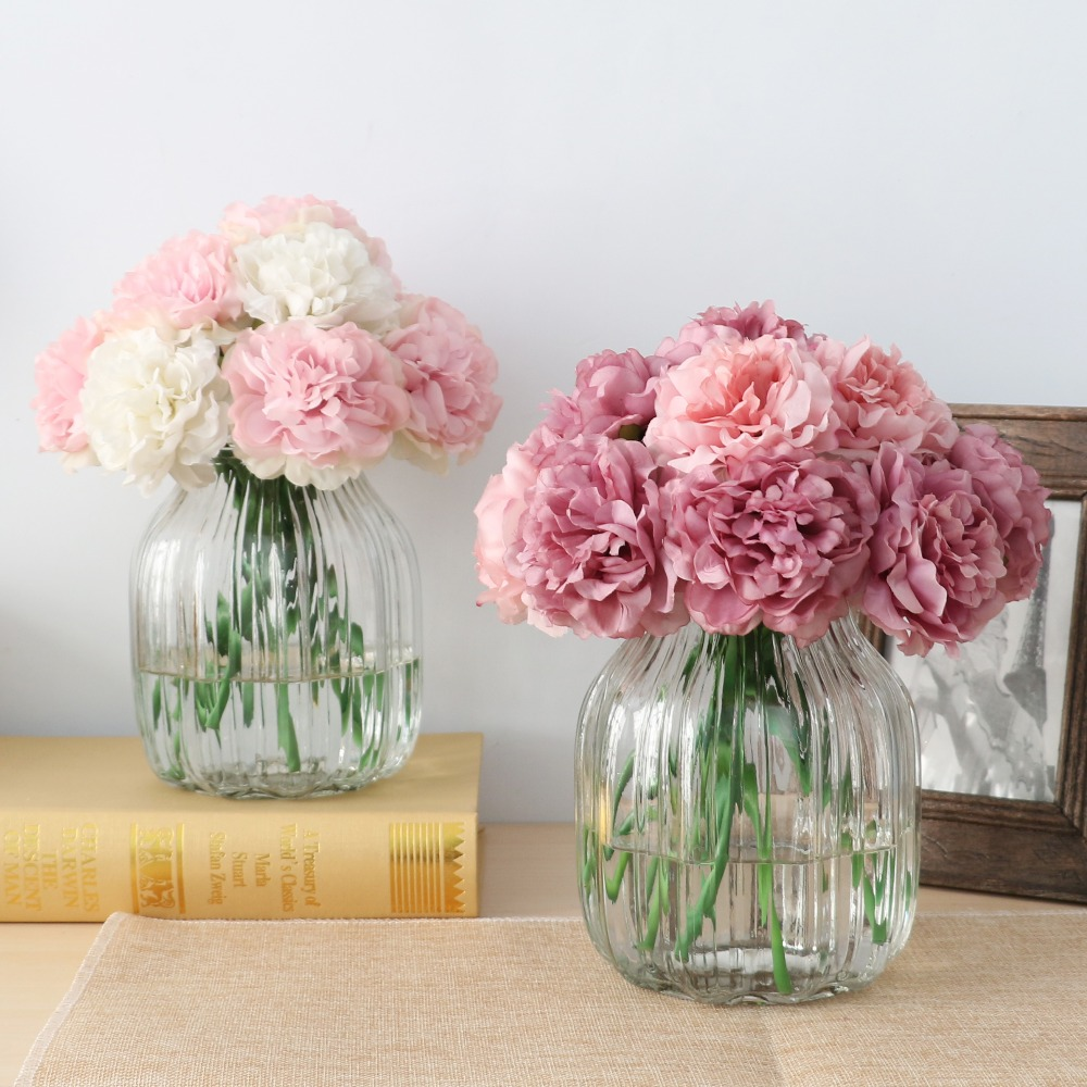 10pcs Cute Silk Artificial Flowers Cheap Hydrangeas Peony Flower